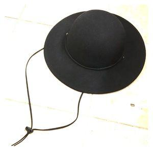 Black Wool Brim Fedora hat